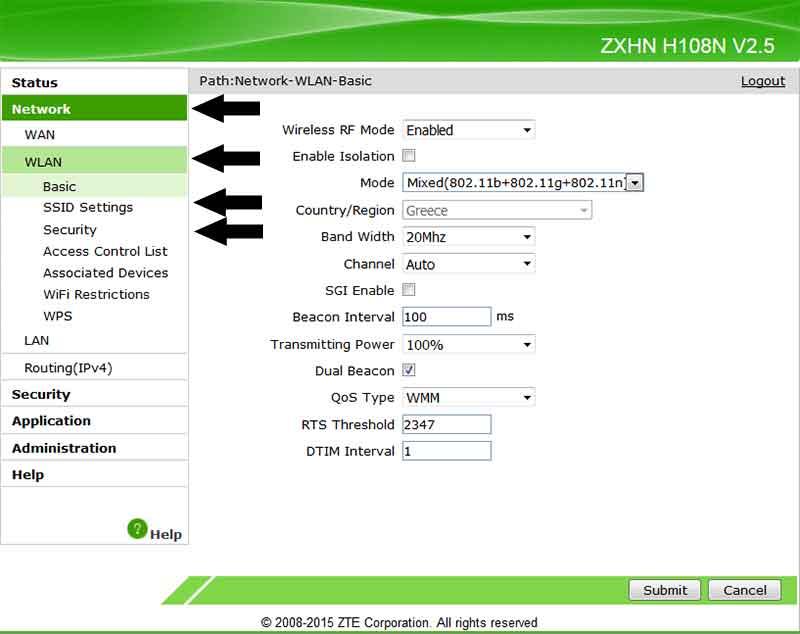 Ασύρματο Internet WiFi αλλαγή κωδικού και ονόματος SSID στο router 7-router